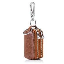 New Arrival Genuine Leather Men Car font b Key b font Holders Housekeeper Multifunctional Double Zipper