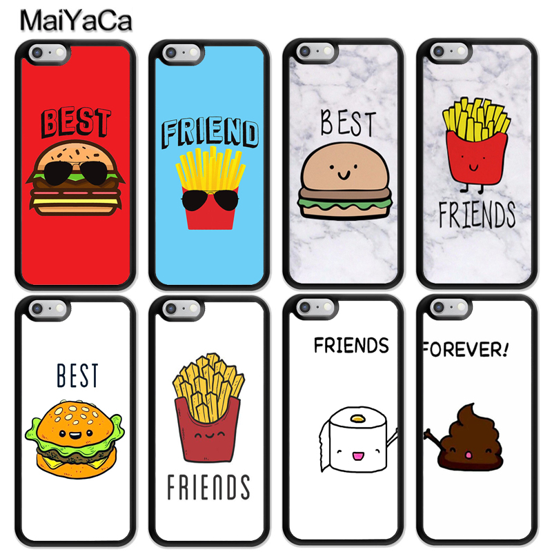 MaiYaCa BFF Best Friends Burger and Fries Food Funny Soft Phone Cases For iPhone 6 6S