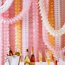 Fengrise 3.6メートル4葉のクローバー花輪紙バナーピンクブルー誕生日パーティー結婚式の装飾ホオジロルーム装飾
