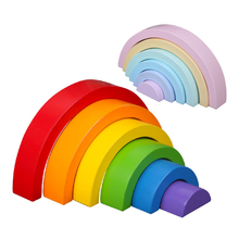 лучшая цена Colorful Wooden Rainbow Building Blocks Toys Creative Assembling Wooden Blocks Circle Set Educational Toys for Children Gifts