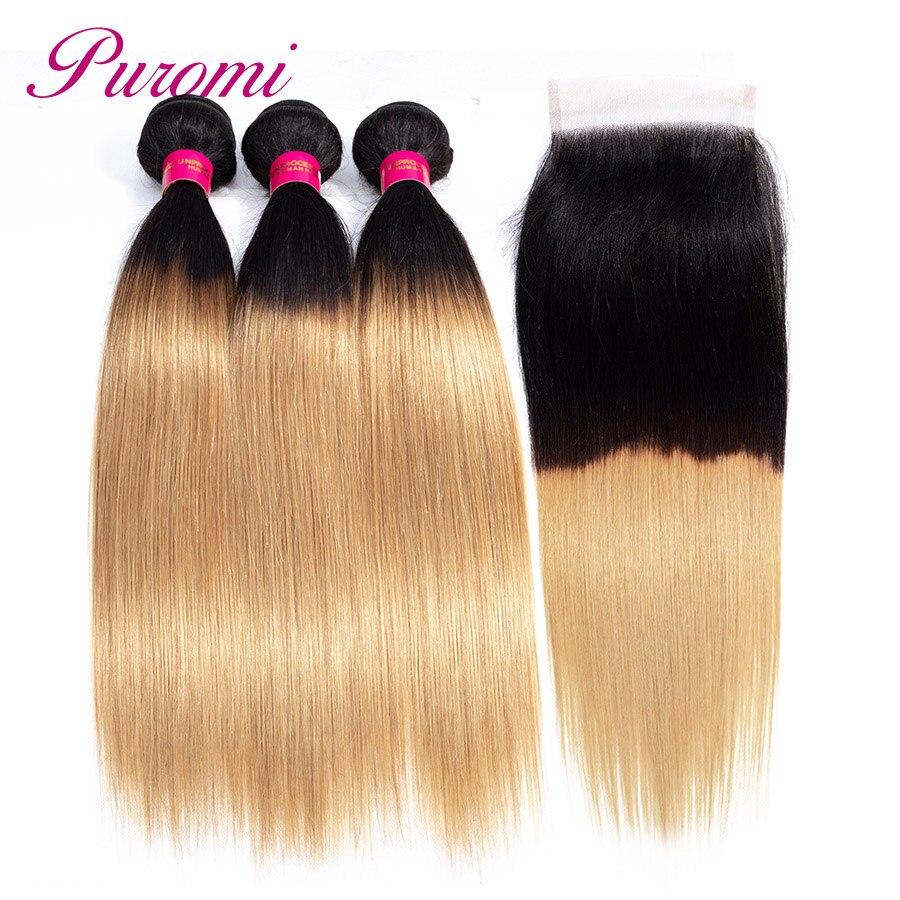Puromi Ombre Малайзии прямые волосы Связки с закрытием 1b/27 блондинка человеческих волос 3 Связки с кружевом застежка не remy