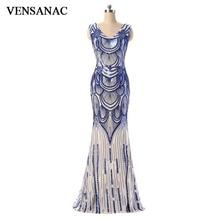 VENSANAC 2018 V Neck Sequin Long Mermaid Evening Dresses Vintage Tank Party Lace Pattern Zipper Back Prom Gowns