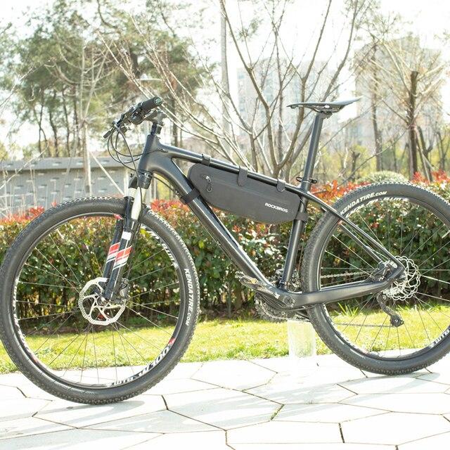 Rockbros bolsa quadrada para ciclismo e mtb, acessório, cesta de bicicleta para cano frontal superior, resistente à água e sujeira 6