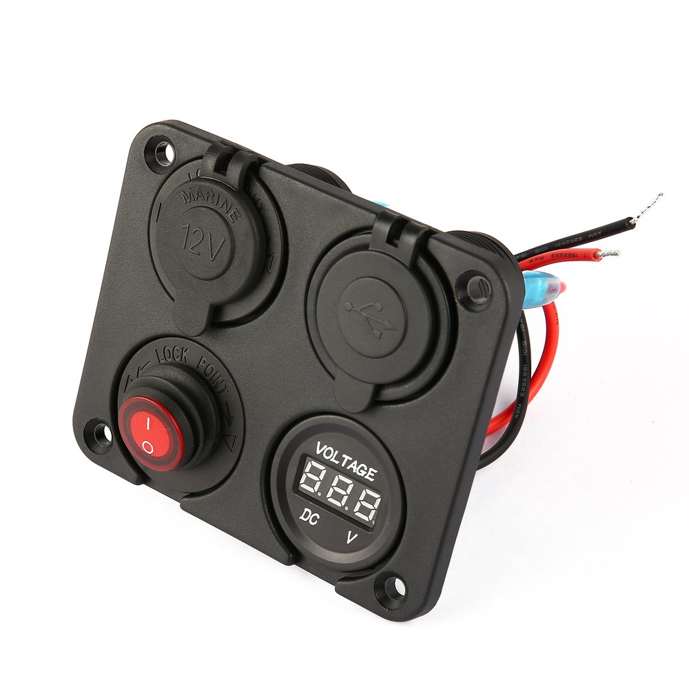 Interruptor de encendido//apagado Panel de interruptor LED de barco marino 4 en 1 para autom/óvil Toma de corriente de 12V negro, rojo y azul Volt/ímetro LED Puertos USB duales Cargador de coche
