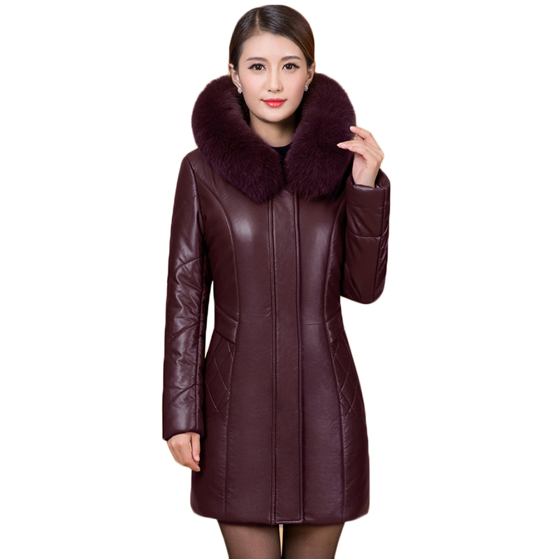 Plus size 5XL 6XL Ladies Leather Jacket Coat  Faux Fur Collar New Mid-Aged Ladies Winter Parka Warm Leather Clothing Women Coats