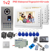 SUNFLOWERVDP Doorphone Fingerprint Door bell With Camera 7 Color Lcd Home Intercom With Rfid Electronic Door Lock Video Phone