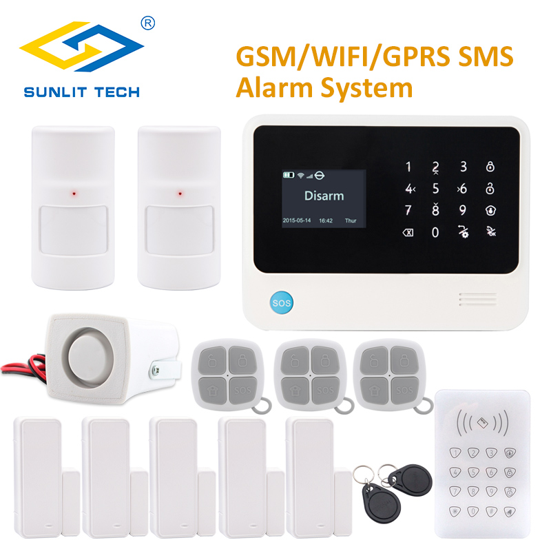 Приложение дистанционное управление wifi GSM домашняя сигнализация с RFID клавиатурой анти ПЭТ PIR сенсор и двухсторонний датчик двери