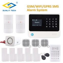 Pilot zdalnego sterowania APP WIFI GSM system alarmowy w domu z RFID klawiatura Anti Pet czujnik PIR i dwa sposób  czujnik drzwi