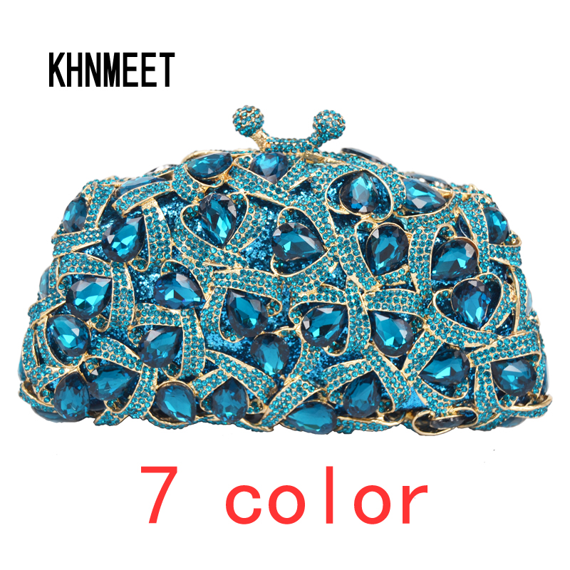 Peacock Blue Luxury Purse Wedding Bridal Evening Bag Champagn Crystal rhinestone Clutch Bags Ladies Evening Bags