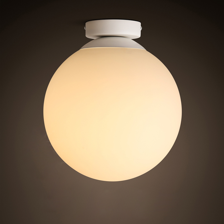 Modern Brief Vintage Ameican Country Glass Ball Iron Led Ceiling Light Bathroom Balcony Entrance Home Decor