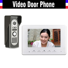 7 inch color lcd Screen video door phone intercom doorbell System Video doorphone interphone kit 1-monitor 1-Door Camera