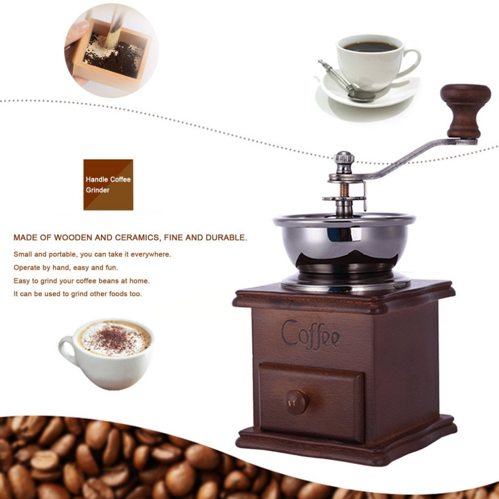 Wooden Manual Coffee Maker Machine Antique Coffee Grinder Mini Stainless Steel Handle Coco Coffee Bean Grinder With Wooden BaseWooden Manual Coffee Maker Machine Antique Coffee Grinder Mini Stainless Steel Handle Coco Coffee Bean Grinder With Wooden Base
