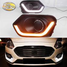 For Suzuki Dzire 2017 2018 Yellow Turn Signal Relay Waterproof ABS Car DRL Lamp 12V LED Daytime Running Light Daylight SNCN led 12v daytime running lights drl for mitsubishi asx 2016 2017 abs fog lamp cover with yellow turn signal light car flashing
