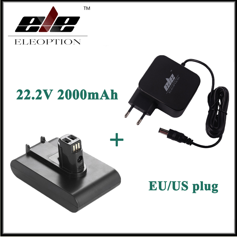 Eleoption 22.2V 2000mAh Li-Ion Rechargeable Battery for Dyson DC31 DC35 917083-01 Vacuum Cleaner With AC Adapter Charger 3 pcs 22 2v 2 0ah li ion eleoption new replacement vacuum cleaner battery rechargeable battery pack for dyson dc35 type b 6 cell