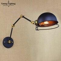Vintage Loft Industriële Verstelbare Blaker Wandlampen voor Slaapkamer Lange Swing Arm Flexibele Wandlamp Zwart Verlichtingsarmaturen E27
