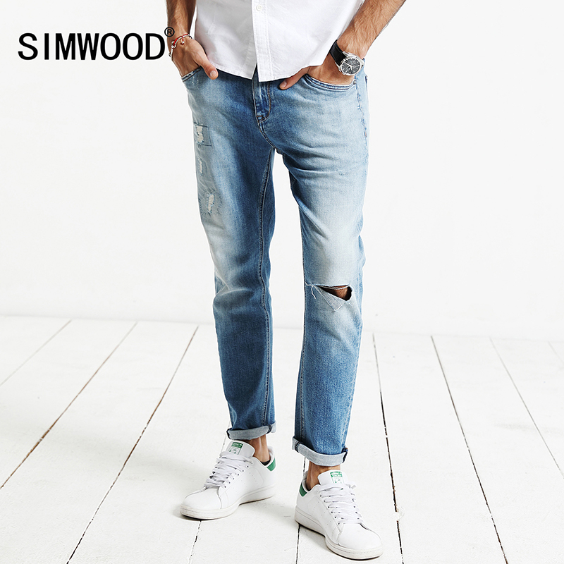 SIMWOOD 2017 New  Autumn  Jeans  Men Hole Fashion denim trousers  Male Slim Fit Plus Size High Quality  brand clothing  SJ6094 17 shark summer new italy classic blue denim pants men slim fit brand trousers male high quality cotton fashion jeans homme 3366