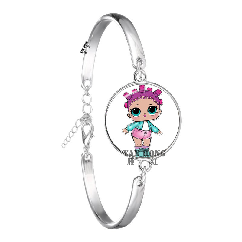 Красивый кукольный стеклянный браслет 20 мм стеклянный купол мультфильм ювелирные изделия круглый стеклянный браслет детский очаровательный подарок - Окраска металла: 13