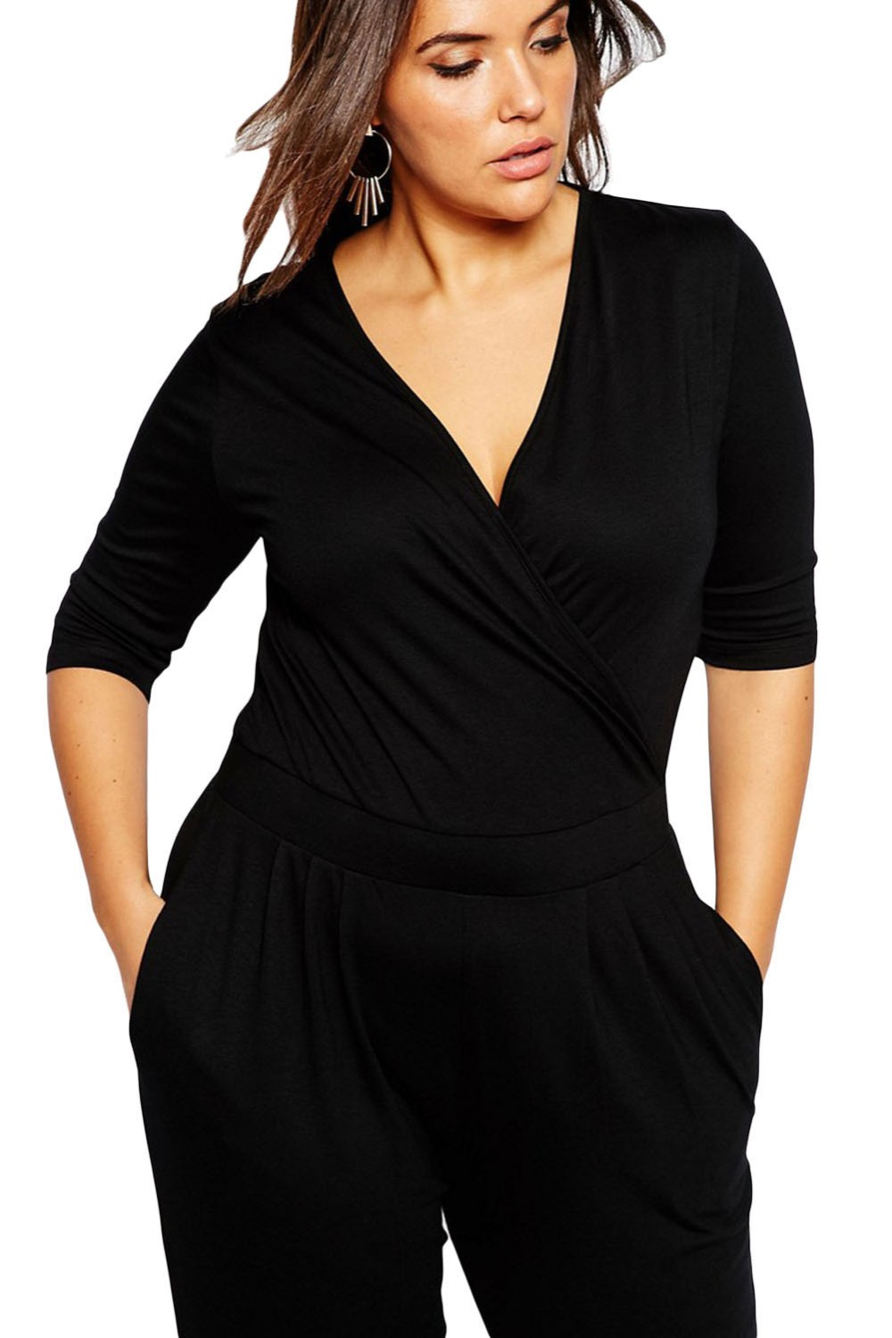 Black-Plus-Size-Wrap-V-Neck-Jumpsuit-LC64206-2-3