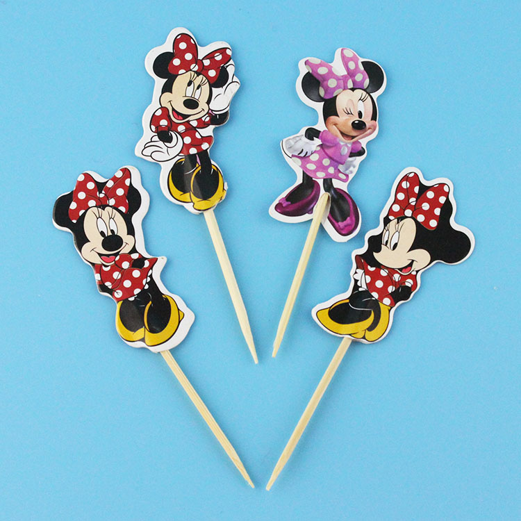 24pcs Minnie mouse Cupcake Topper Picks Birthday Wedding Party Decorations Kids Evnent Party Favors Party Decoration