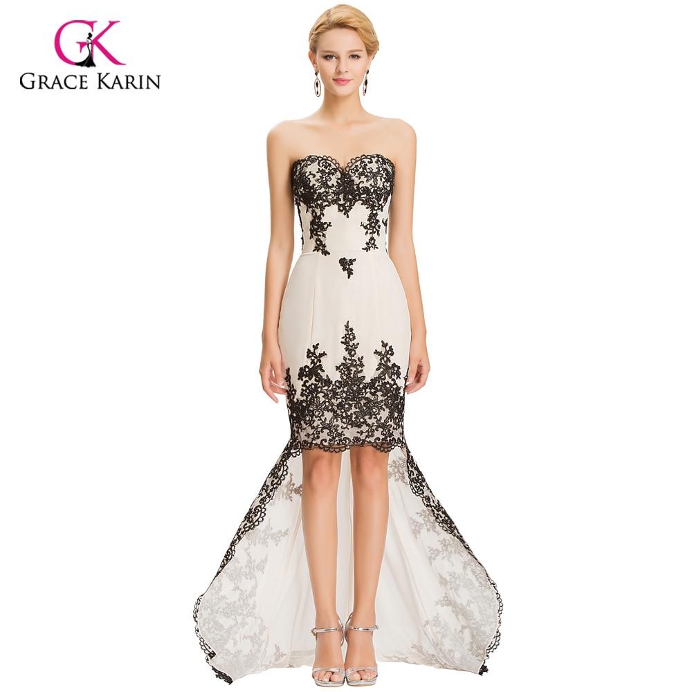 Grace Karin long Lace Evening Dresses Black Applique Short Front ...