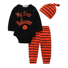 baby boy clothes Autumn and winter new boy pumpkin pattern shirt + striped pants + striped headscarf 3 piece suit 6M-3T(China)