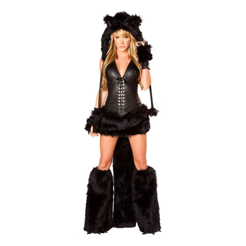 Halloween Adult Women Animal Costumes Deluxe Black Sexy -7103