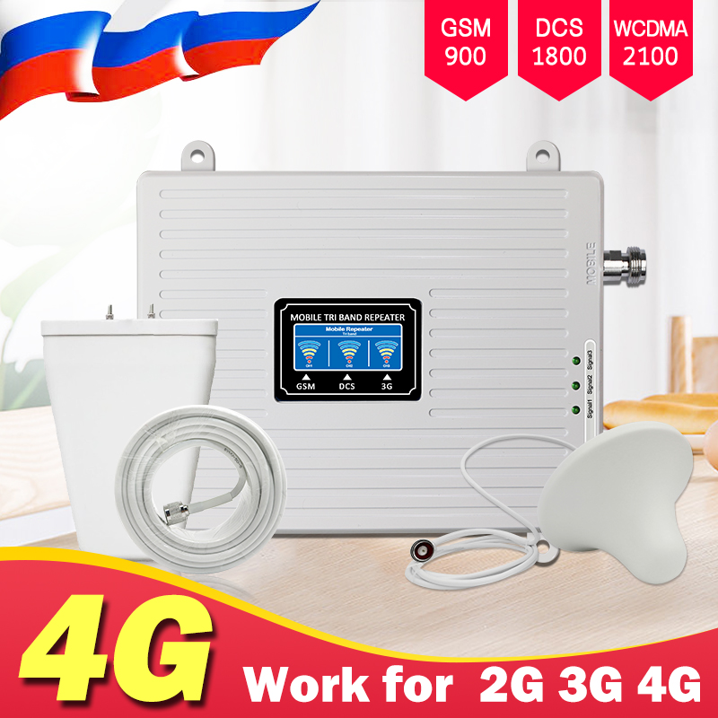 Tri Band Repetidor 4G 3G 2G Amplificador De Sinal Celular GSM 900 DCS LTE 1800 WCDMA 2100 mhz sinal móvel Impulsionador Repetidor Antena