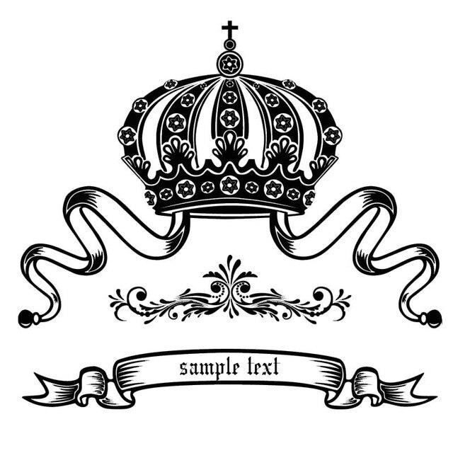 Elegant Ratu Crown Pola Bunga Dinding Decal Removable Diy Lencana Stiker Dekorasi Rumah Ruang Tamu