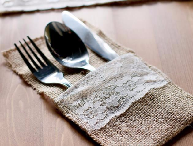 10pcs Vintage Shabby Chic Jute Burlap Lace Wedding Tableware Pouch Cutlery Bag Rustic Wedding Decor Wedding