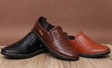016 Fashion Brand Men's Genuine Leather Shoes Moccasins Men Flats Slip On Men's Loafers Shoes Mens Business Dress Shoes