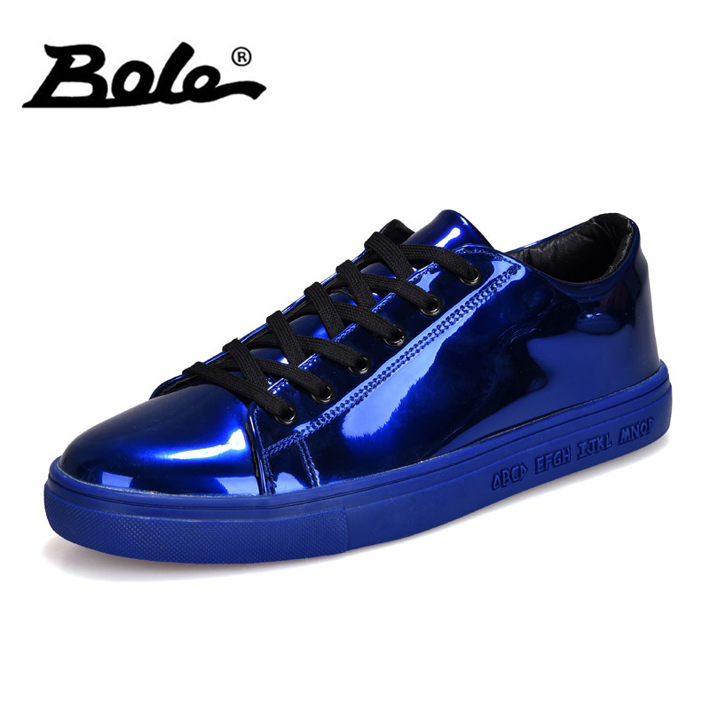 BOLE Men Sequined Casual Shoes Waterproof Rubber Sole Non-slip Casual Sneakers for Men Fashion Shoes Gold Sliver 4colors