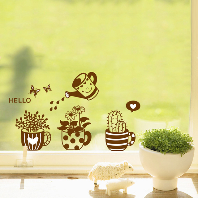 DIY Potted Flower Cactus Wall Stickers Home Decor Gray Cartoon ...