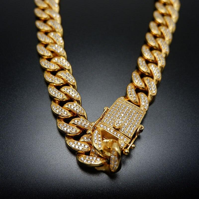 """18 """" 30"""" 12mm de large Miami chaîne cubaine collier hommes Hip Hop rappeur Bling glacé Micro Pave AAA CZ lien chaîne or argent bijoux-in Colliers chaîne from Bijoux et Accessoires    1"""