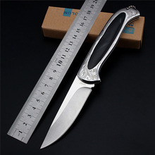 CHIKUTOU Folding Knife Pocket Knife Outdoor Survival Tactical Knife Brush Finish 7CR17MOV Handle Inlaid Resin 1093#