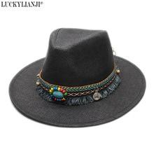 LUCKYLIANJI Women s Men s Unisex s Adjustable Classic Straw Sun Beach Wide  Brim Panama Hat Tassel Turquoise Leather 73f729342a94