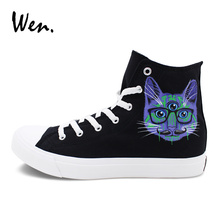 Wen Classic Black Canvas Shoes Custom Design 3 Eyes Cats Graffiti Shoes Men Women's Hand Painted Skateboarding Sneakers