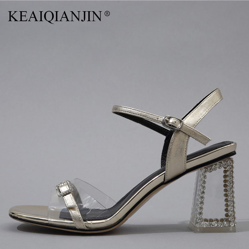 KEAIQIANJIN Woman Open Toe Crystal Prom Sandal Fashion Silvery Golden High Heels Shoes Sexy Summer Peep Toe Party Sandals 2018 genuine leather crystal open the toe thick high heels women sandals 2016 new fashion sexy peep toe lady summer sandal shoes