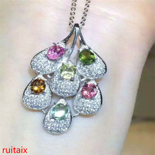 цена KJJEAXCMY boutique jewels S925 silver natural crystal tourmaline small leaves a necklace pendant set jewelry chain to the box ch онлайн в 2017 году