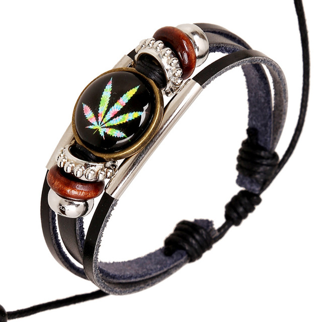 Jamaica Bracelet Woman Cow Leather Colorful Leaves Handmade Charm Weed Bracelets For Men Wax Cord Adjule