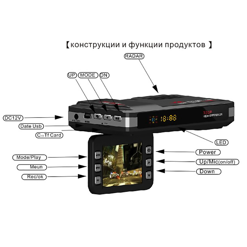 Universal 3-in-1 720P HD Car DVR GPS Car Camera Recorder Mobile Radar Speed Detector English / Russian GPS Radar Speed Detector gps навигатор lexand sa5 hd