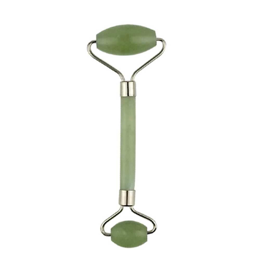 2 In 1 Green Roller  Gua Sha Tools  Natural Jade Roller Jade Quartz Facial Massage Roller Stone  For Neck Back Face Lift