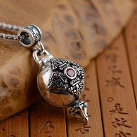 Gawu Box Pendant S925 sterling silver silver wholesale antique style six Buddhist mantra evil can be opened