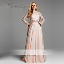 50a2a9c0549 Vintage Pink Formal Muslim Evening Dress Pearls Long Sleeve Mother of the  Bride Lace Dresses Chiffon Pant Suits Robe de Soiree