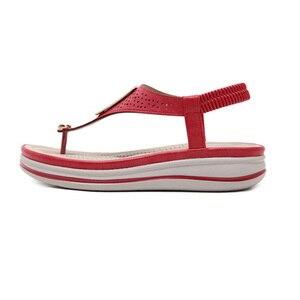 Image 2 - TIMETANGSummer แพลตฟอร์ม Flip Flops ผู้หญิงชายหาดรองเท้าแตะหนังนุ่มสบายรองเท้าส้นสูงรองเท้าโลหะขนาดใหญ่