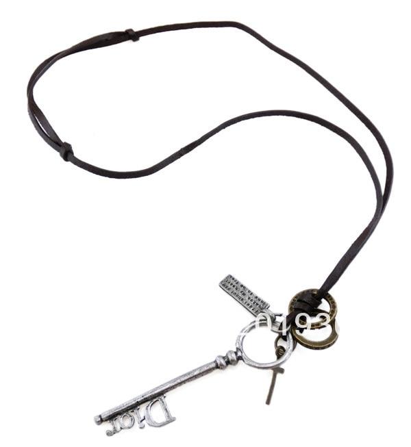 웃 유Envío libre, collar de la cuerda del cuero de la manera, plata ...
