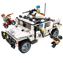 452pcs Children's educational building blocks toy Compatible Legoings city Armed Hummer War Scene Military Model Car Toy Bricks(China)