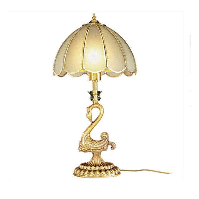 Top European Stylereading Cama Luz Retro Americana 110 V ~ 240 V Estudio Sala de estar Dormitorio E27 Interruptor de Botón de Bronce Lámpara de Mesa Led