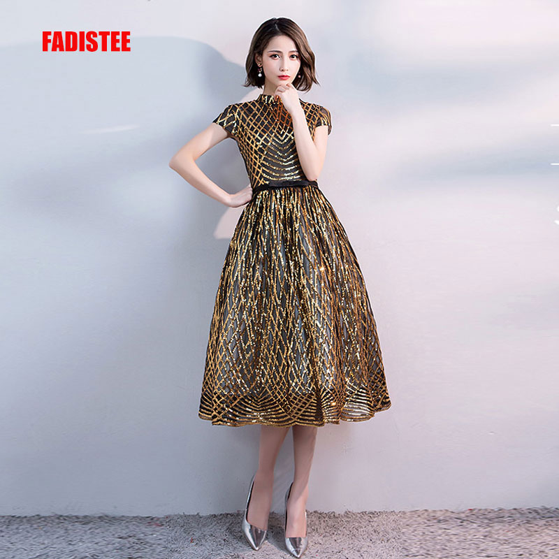 FADISTEE new arrival party   prom     dress   Vestido de Festa high-neck evening party gold pattern sequins cap sleeves short style
