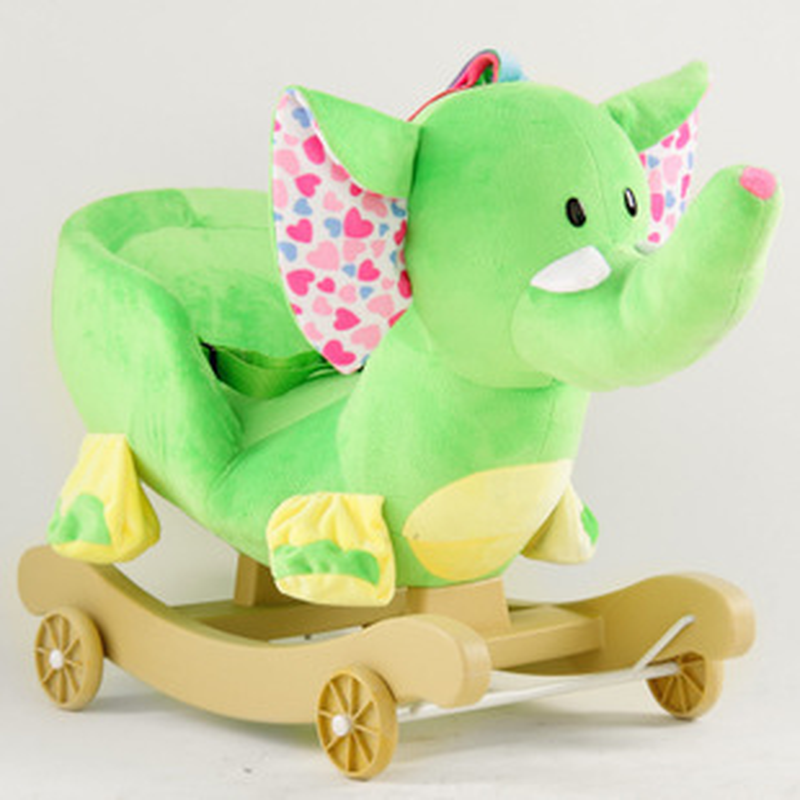 Children Ride on Animal Toys Baby Plush Elephant Gift Music Kids Rocking Chair Horse Baby Ride on Animal Kids Rocking Horse
