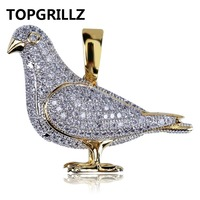 TOPGRILLZ New Style Iced Out Gold Color Plated Two Tone Micro Pave Zircon Pigeon Pendant Necklace